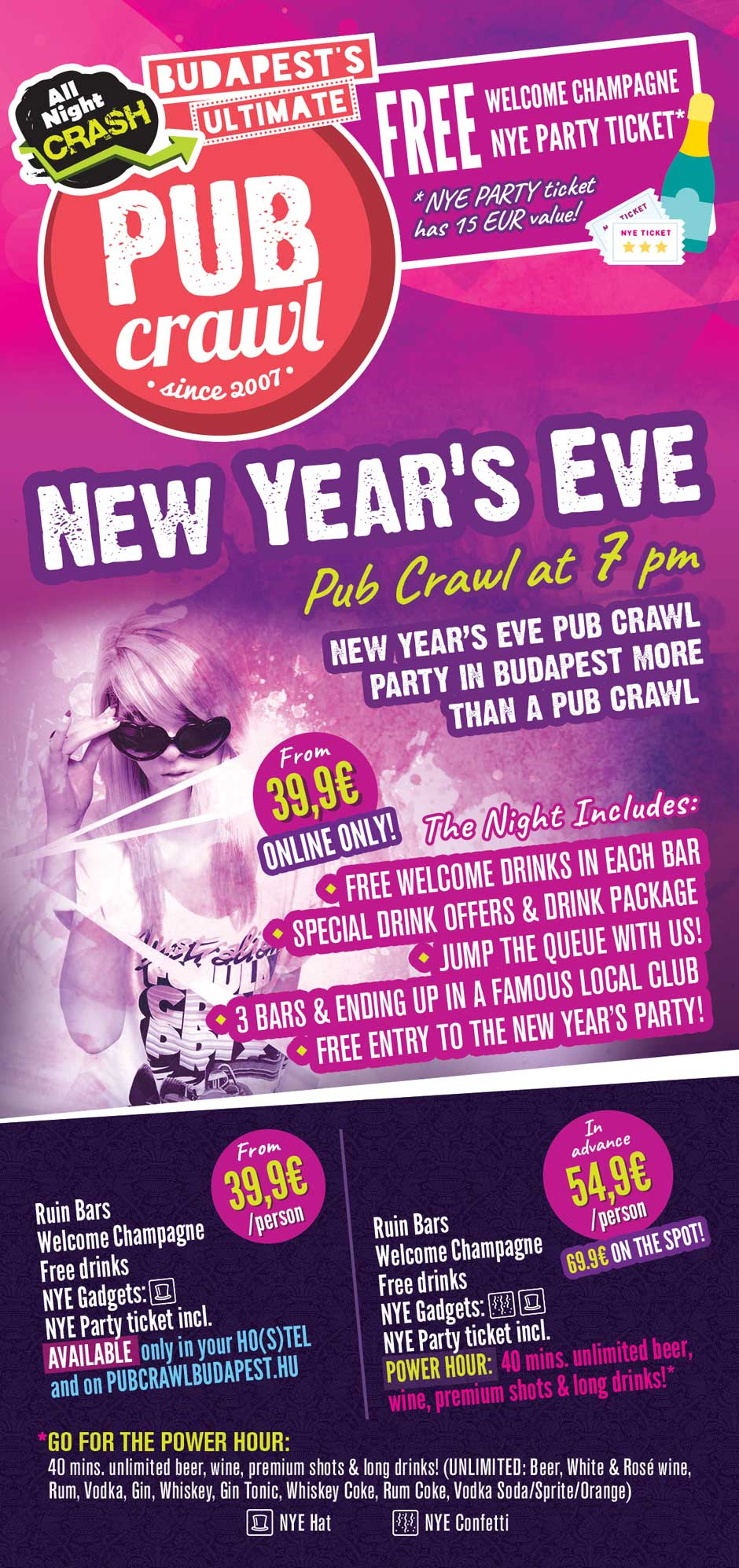 2020 New Year's Eve Pub Crawl in Budapest