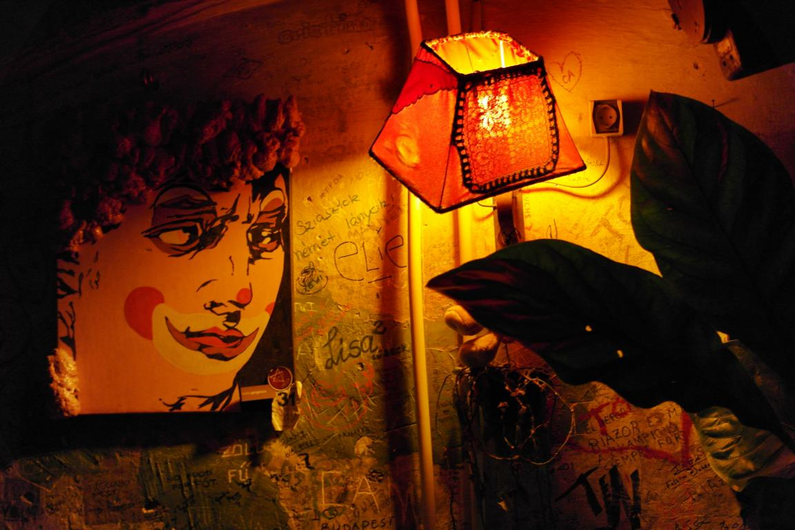 Orange colored lamp in Szimpla Kert Ruin Bar